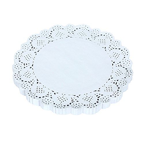 Lot de 150 napperons ronds en dentelle - Décoratif, en papier jetable - Blanc, 16,5 cm, 9.5inches