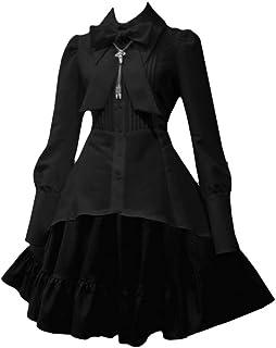 Donna Vintage Vestito da Lolita Gothic Steampunk Vestito da Principessa Manica Lunga Vita Alta Abito Medio Lungo vestibili...
