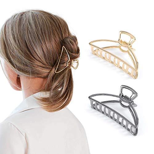 Nicute Haarklammer Schwarz und Gold Metall Haarspangen Anti-Rutsch Große Haarklammer Clips Set Haarschmuck für Frauen und Mädchen (2 Stück)