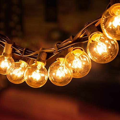 ADORIC G40 Lichterkette mit Draht Glühbirnen|25+3Ersatzbirnen|7,62m anschließbar Wasserdichte Beleuchtung |Dekoration für Garten,Hochzeit Party, Weihnachten usw
