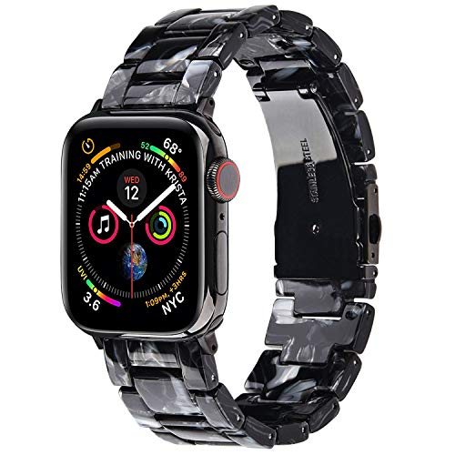 VISOOM Armbänder Kompatibel mit Apple Watch Series 6 / SE Armband 38mm / 40mm - Harz Armreif iWatch Serie 5 4 3 2 1 38mm / 40mm Armband für die Ersatz für Frauen & Mädchen (schwarz)