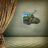 JIANGNIUS ウォールステッカー家の装飾 3Dタンクリムーバブル壁アートステッカー、サイズ:70 x 58 x 0.3 cm