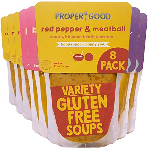 Gluten Free Soup Variety by Proper Good, Chicken & Mushroom, Red Pepper Meatball, Butternut Squash, Hearty, Healthy, Shelf Stable, No Refrigeration Required, 12 Ounce Pack of 8