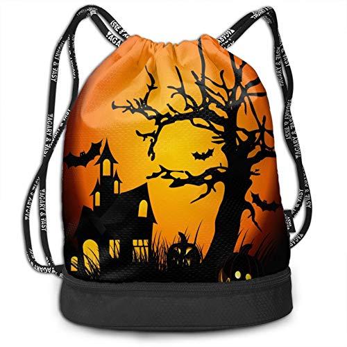 Wearibear Bolsa de gimnasio ligera para Halloween, diseño de árbol de castillo, bolsa de gimnasio, ligera, duradera, lavable, con bolsillos aislados, para viajes, golf, yoga