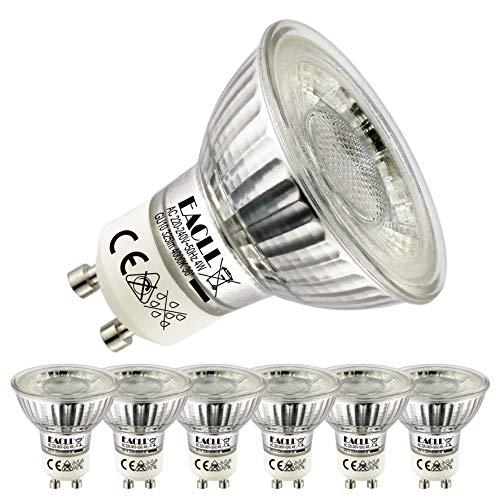 EACLL GU10 LED 4W 4000K Neutralweiß Leuchtmittel 325 Lumen Birnen kann Ersetzen 50W Halogen. AC 230V Kein Strobe Strahler, Abstrahlwinkel 36° Reflektor Lampen, Neutralweiss Licht Spotleuchten, 6 Pack