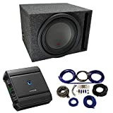 Universal Car Stereo Vented Port Single 12' Alpine Type R R-W12D4 Sub Box Enclosure with S-A60M Amplifier & 4GA Amp Kit