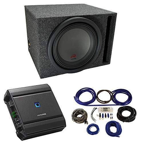 "Universal Car Stereo Vented Port Single 12"" Alpine Type R R-W12D4 Sub Box Enclosure with S-A60M Amplifier & 4GA Amp Kit"