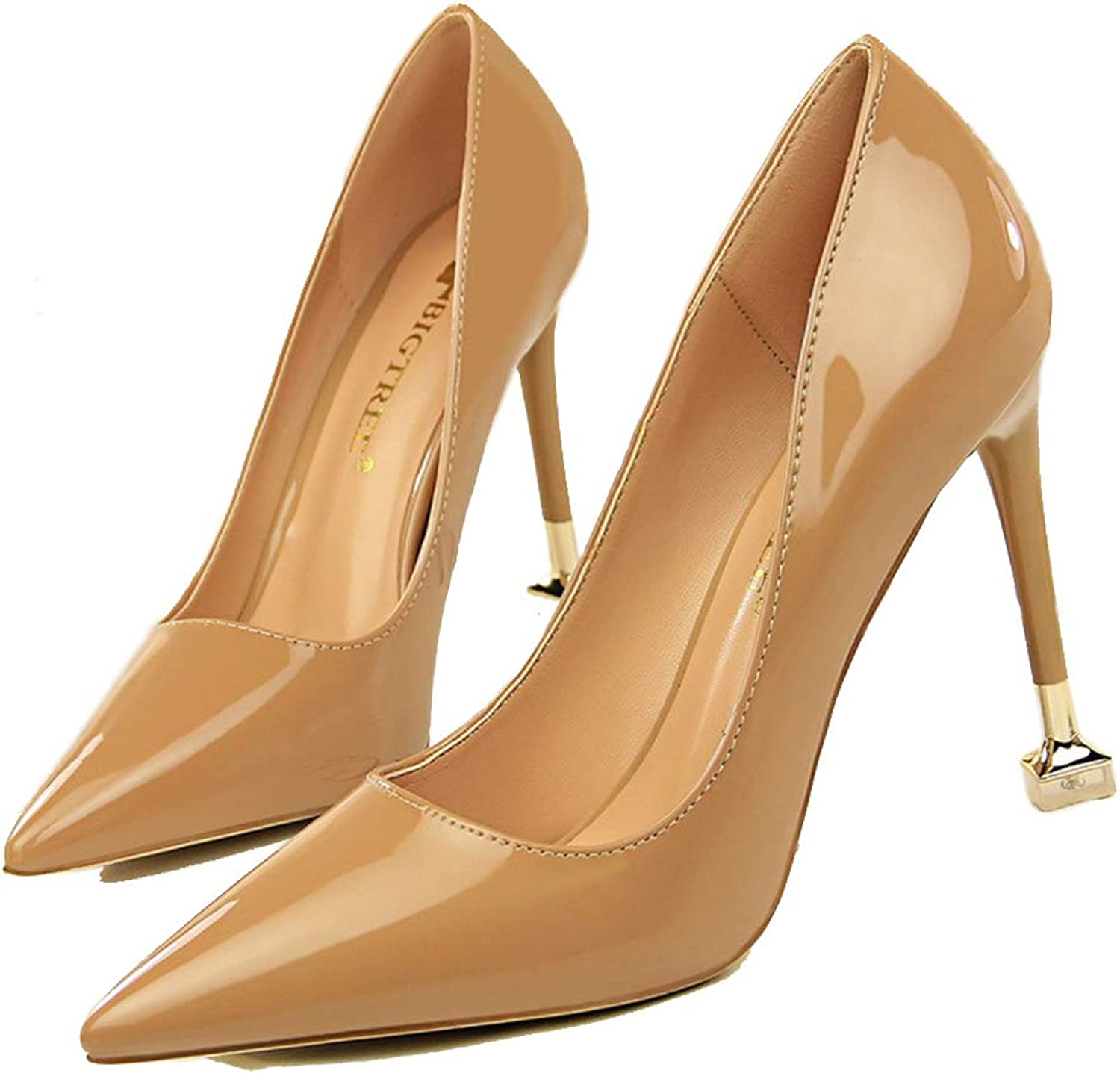 Drew Toby Women Pumps Fashion Shallow Patent Leather Slip On Pointed Office High Heels