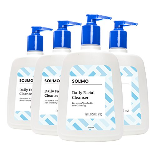 Amazon Brand - Solimo Daily Facial Cleanser, Normal to Oily Skin, 16 Fluid Ounce (Pack of 4)