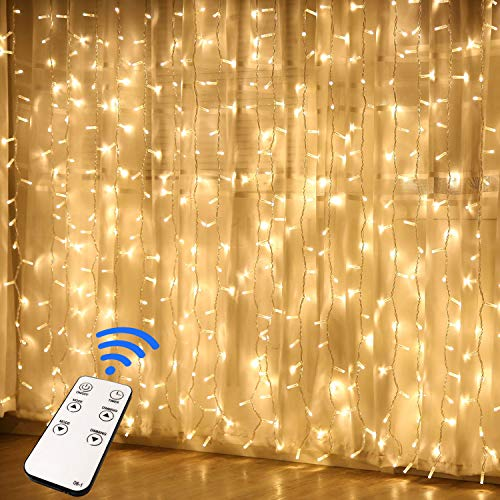 JMEXSUSS Remote Control Curtain Lights, 300 LED Window Curtain String Light for Wedding Party Backdrop Home Garden Bedroom Outdoor Indoor Wall Hang (Warm White)