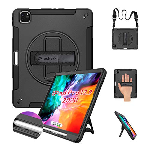 Miesherk iPad Pro 12.9 Case 2020/2018 with Pencil Holder[Support Pencil Charging], 360 Rotating Heavy Duty Shockproof Case with Stand+Shoulder Strap+Hand Strap for iPad Pro 12.9 4th Generation, Black