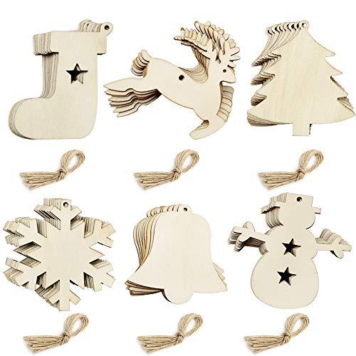 PEAK-EU 30 sztuk 6 stylów drewniane ozdoby świąteczne do samodzielnego wykonania rękodzieła ozdoby choinkowe świąteczne wiszące dekoracje