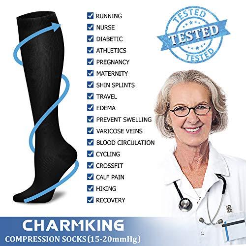 Bas de contention Charmking pour hommes et femmes (3 paires) - ceux de 15-20 mmHg sont les meilleurs...