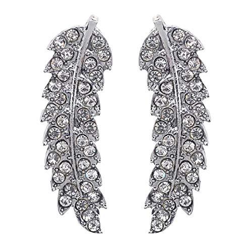 Ruby569y Pendientes colgantes para mujeres y niñas, pendientes de tuerca con forma de hoja con incrustaciones de diamantes de imitación para regalo de joyería - plata