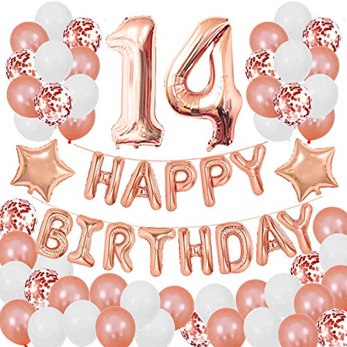 Succris 14TH Birthday Decorations for Girls and Women 14th Birthday Decorations 14 Years Old Birthday Party Supplies Happy Birthday Banner Rose Gold Confetti Balloons Rose Gold