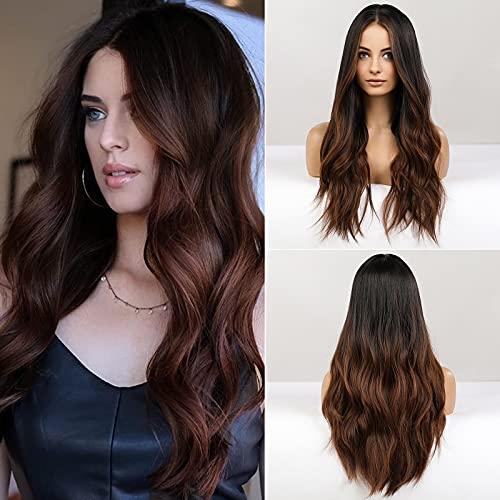 HAIRCUBE Perruque de Cheveux Longs pour Femme, Couleur Ombrée Noire à Marron Foncé, Cheveux Synthétiques Bouclés, Séparation au Milieu