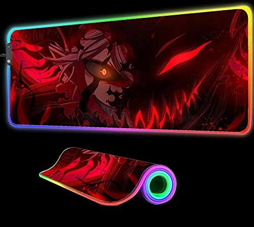 Black Clover Anime RGB Gaming Alfombrilla de Ratón Grande con Retroiluminación Led Teclado para Ordenador Portátil Gamer Alfombrilla de Escritorio para Ordenador 800X300X4 mm