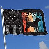 AOTADer Banderas al Aire Libre desgastadas Bandera de EE. UU. Bandera Divertida Linda del Beagle para fanático de los Deportes Fútbol Baloncesto Béisbol Hockey