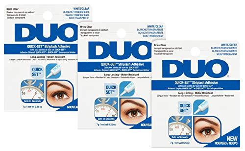ARDELL DUO Quickset Adhesive (Clear, Transparent) Wimpernkleber, neue Version, das Original für perfekten Halt von künstlichen Wimpern, 7g (3x)