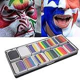 Pintura para la cara, 12 colores Pintura para la cara Pintura a base de agua Fiesta de Halloween Juego de pelota Fan Fancy Body Art Pigmento de maquillaje
