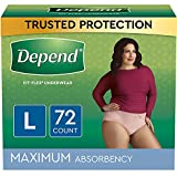 Depend FIT-Flex Incontinence Underwear for Women, Maximum Absorbency, Blush, Large, 72 Count