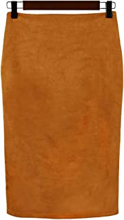 Womens Lightweight Elastic-Waist Faux Suede Leather Side Split Hip Packaged Skirt