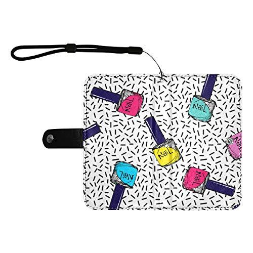 Rtosd Flip Phone Schutzhülle Bunte Kunst Mode Nagellack Flip Flop Handyhülle Mit Kartenfächern Handgelenkriemen Pu Leder Geldbörse Für Handy Groß