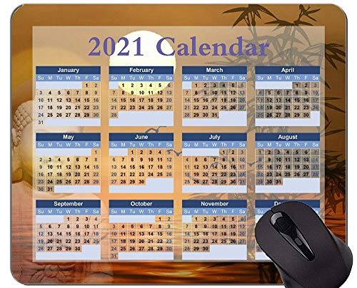Gaming Mouse Pad 2021 Year Calendar with Holiday,Gold Orange Sun Mouse Pad with Stitched Edge