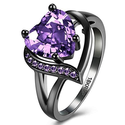 LAMUCH - Diamante de rubí/Amatista Creado para Mujer, 11 mm, Mejor Amiga en Forma de corazón Anillos de Promesa chapados en Oro Negro de 18 Quilates para su Talla 6-8