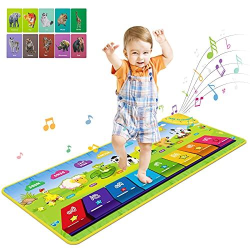 Musikmatte Kinder Klaviermatte, Piano Matte Tanzmatte für Baby, 7 Tierstimmen Klaviertastatur Spielzeug Musik Matte, Kinder Keyboard Musikspielzeug für Jungen Mädchen 1-5 Jahre alt (100 x 36.5 cm)
