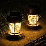 Solar Lanterns Outdoor Hanging - 2 Pack Waterproof Landscape Lights Solar Table Lamps with Retro Design, Warm LEDs Fairy Lights for Indoor Tabletop Patio, Garden, Yard, and Pathway Decoration