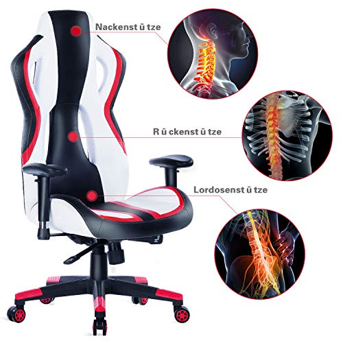 Wolmics Gaming Stuhl unter 150 Euro Rennstil PU-Leder Bild 3*