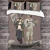 Juego de cama con póster de personajes de Anime Dorohedoro con cierre de cremallera, juego de edredón de 3 piezas de microfibra suave multicolor, colchas más acogedoras para dormitorio C11546