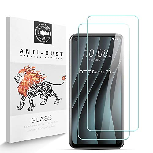 Zidwzidwei Panzerglas Schutzfolie für HTC Desire 20 Pro, 9H-Festigkeit Tempered Glass, Anti-Kratzer, Einfache Installation, Anti-Fingerabdruck Bildschirmschutzfolie für HTC Desire 20 Pro [2 Stück]