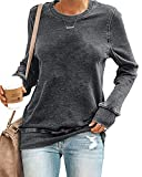 SENSERISE Womens Casual Crewneck Sweatshirt Long Sleeve Solid Color Shirt Soft Lightweight Loose Tops(Solid Grey, S)