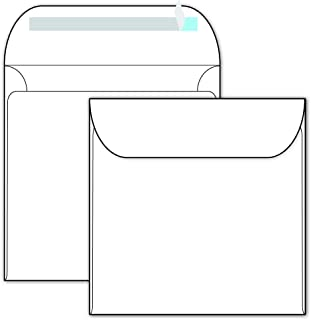 "Bright White Square Envelopes with Self Seal - 5-1/2"" x 5-1/2"" - Thick 70lb Text - 40 Envelope Pack"