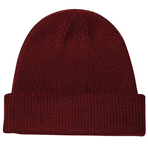 Paladoo Warm Knit Cuff Beanie Cap Daily Beanie Hat for Men (Burgundy)