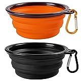 2-Pack plegable del recorrido Perro Bowl, MAXIN silicona Comedero porttil Pet Food agua de la taza, plato plegable extensible Copa para los animales domsticos, aprobado por la FDA. [Negro y naranja]