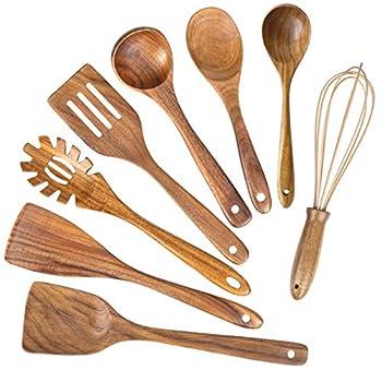 Wooden Kitchen Utensils for Cooking,Natural Teak Wood Utensil Set,Wooden Spoons for Cooking Nonstick Kitchen Utensils set Spatula  8
