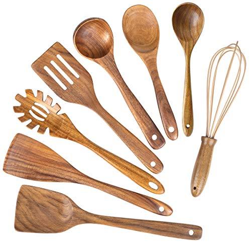 Wooden Kitchen Utensils for Cooking,Natural Teak Wood Utensil Set,Wooden Spoons for Cooking Nonstick Kitchen Utensils set Spatula (8)