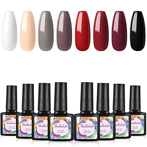 Shelloloh UV Nagellak set 8 Kleuren Losweken uv gel polish Gelnagels Gelvernis Nagellak Manicure uv Lak set