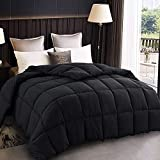 All Season Queen Size Soft Quilted Down Alternative Comforter Hotel Collection Reversible Duvet Insert with Corner Tabs,Winter Warm Fluffy Hypoallergenic(Black, Queen(88' X 88'))