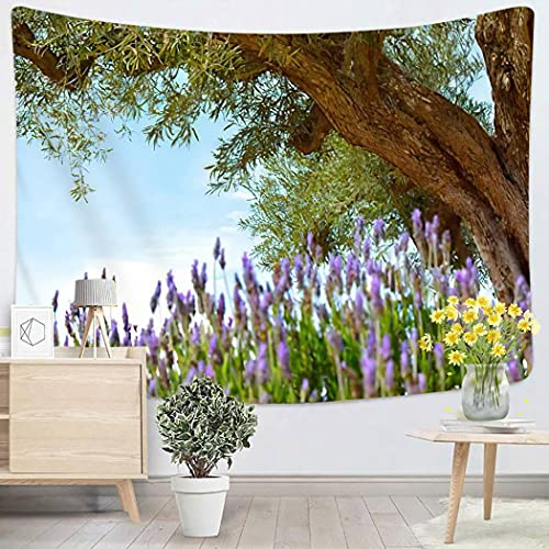 Old Tree Purple Old Tree Purple Ancient Olive in Lavender Field Wall Tapestry Wall Hanging for Bedroom Dorm Living Room Outdoor Wall Art Decor - 50'x60'