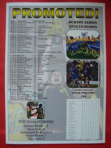 Burton Albion League One runners-up 2016 - Burton promoted - souvenir print