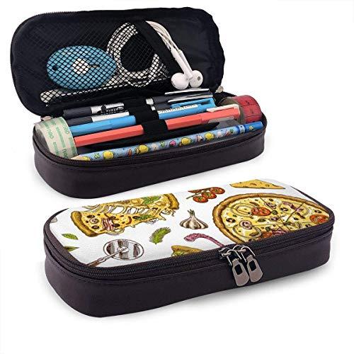 Pizza con textura de queso Cuero de PU Estuche para bolígrafo Estuche para bolígrafo Bolsa con cremallera Útiles escolares para estudiantes