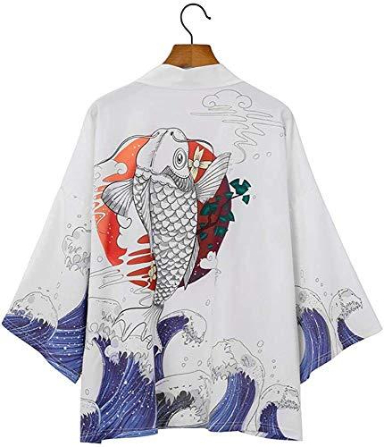 Cárdigan Kimono Japonés para hombre, suelto, ligero, con plumas, Yukata, abrigo, verano, E-XLarge