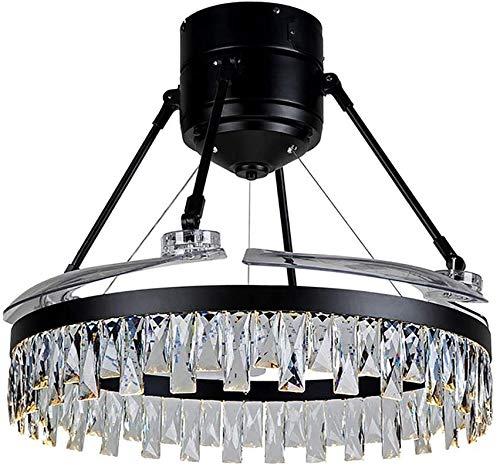 Mopoq Amerikanischer Rustic Dimmbare Kronleuchter Kristall Deckenventilatoren mit Licht und Fern Moderne unsichtbare Retractable Chandelier-Ventilator-Licht LED-Beleuchtung 48