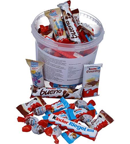 Süßigkeiten - Ferrero Kinder Mix in 2 Liter Kunststoff-Eimer 700g Mischung [Kinder Riegel, Kinder Bueno, Kinder Happy Hippo, Kinder Country, Kinder Schoko Bons]