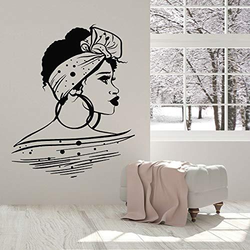 XCSJX Schöne Afrikanerin Große Ohrring Frisur Vinyl Wandtattoo Schönheitssalon Friseursalon Spa Kunst Aufkleber Wandbild Inneneinrichtung 63x82cm Größe