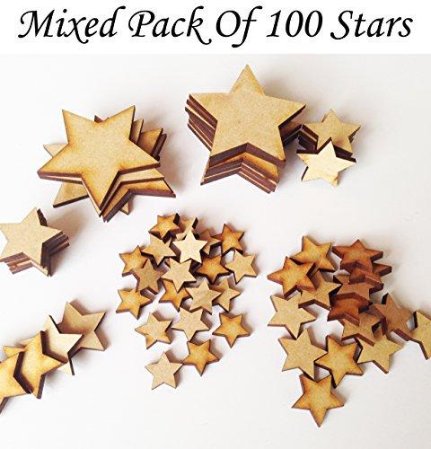 MDF Star Mix–psck di 100stelle varie misure–Decorazione in legno grezzo